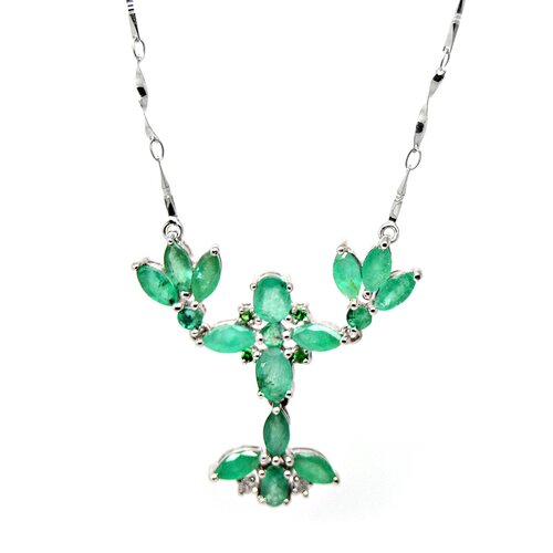 Genuine White Gold Emerald Pendant Necklace