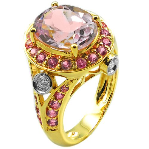 Yellow Gold Pink Tourmaline Ring