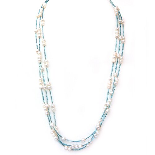 DeBuman Glass and Pearl Strand Necklace