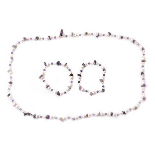 Gemstone and Cultured Pearl Necklace and Bracelet Set