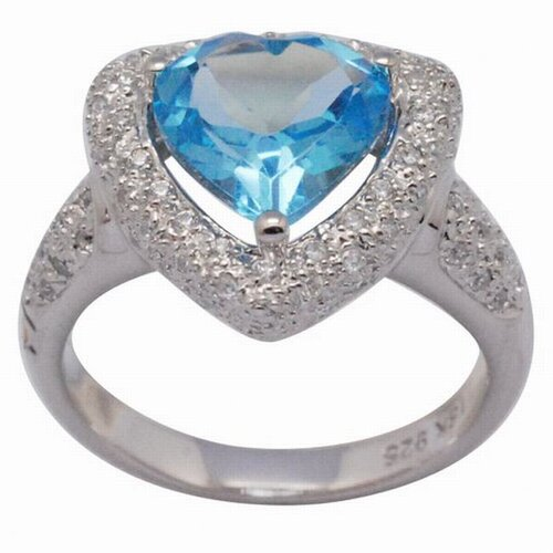 DeBuman 18K Gold and Silver Heart Cut Topaz and Cubic Zirconia Ring