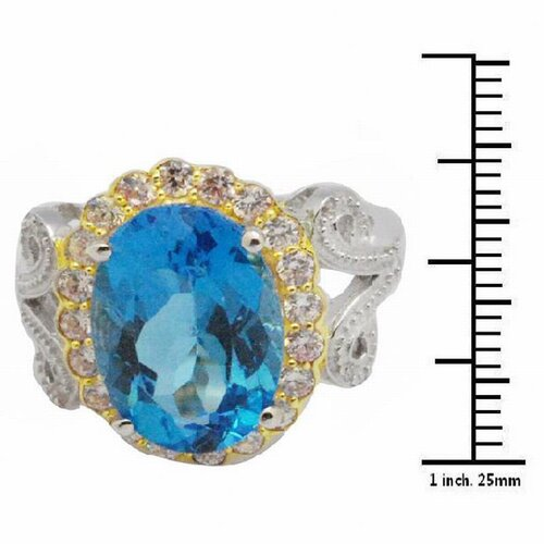 DeBuman Sterling Silver Oval Cut Topaz and Cubic Zirconia Ring