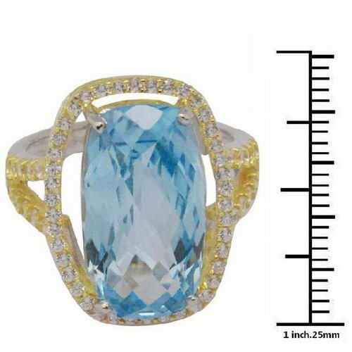DeBuman 18K and Silver Gold Emerald Cut Topaz and Cubic Zirconia Ring