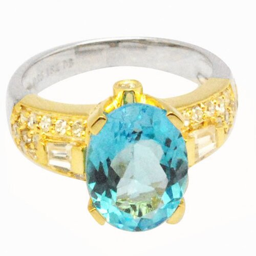 DeBuman 18K Gold and Sterling Silver Oval Swiss Topaz and Zircon Ring