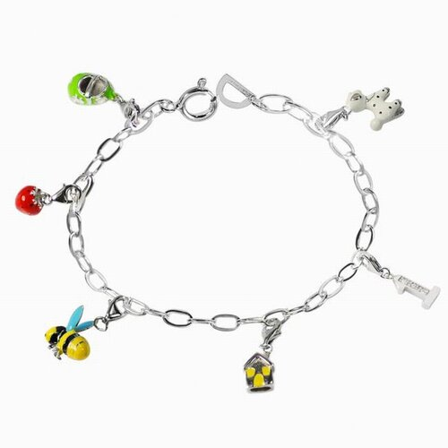 DeBuman Enamel Strawberry and Bee Charm Bracelet
