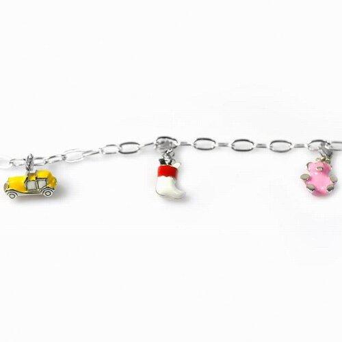 DeBuman Enamel Bear and Car Charm Bracelet