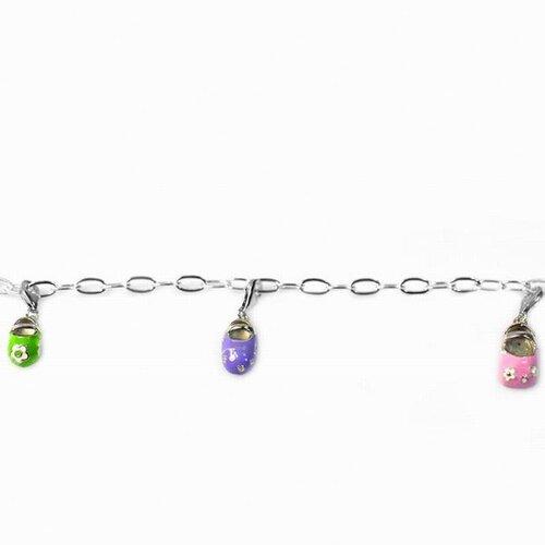 DeBuman Enamel Babyshoes Charm Bracelet
