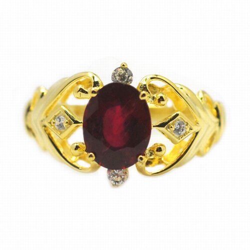 DeBuman Gold over Silver Oval Cut Genuine Ruby and Cubic Zirconia Ring