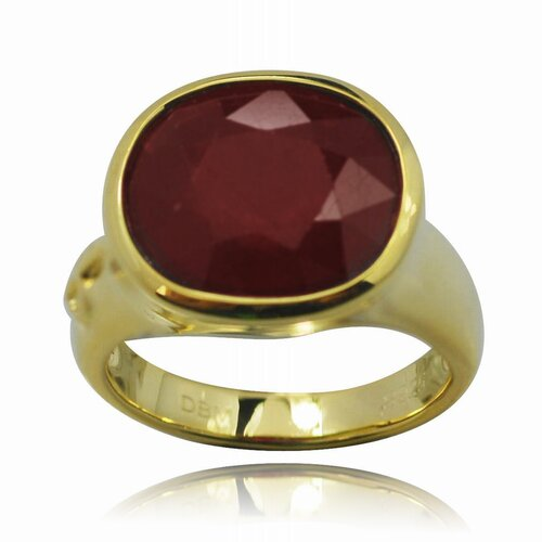 Gold over Silver Oval Cut Genuine Ruby Ring