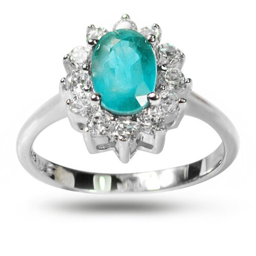 925 Silver Oval Cut Genuine Apatite and Cubic Zirconia Ring