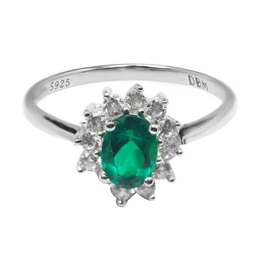 DeBuman 925 Silver Oval Cut Emerald and Cubic Zirconia Ring