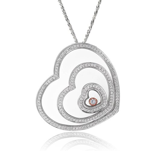Sterling Silver Cubic Zirconia and Crystal Triple Hearts Necklace