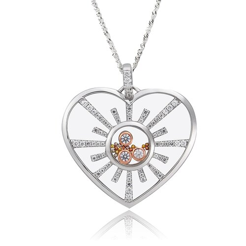 Sterling Silver Cubic Zirconia and Crystal Heart Necklace