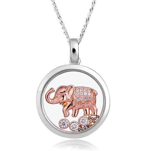 Sterling Silver Cubic Zirconia and Crystal Elephant Necklace