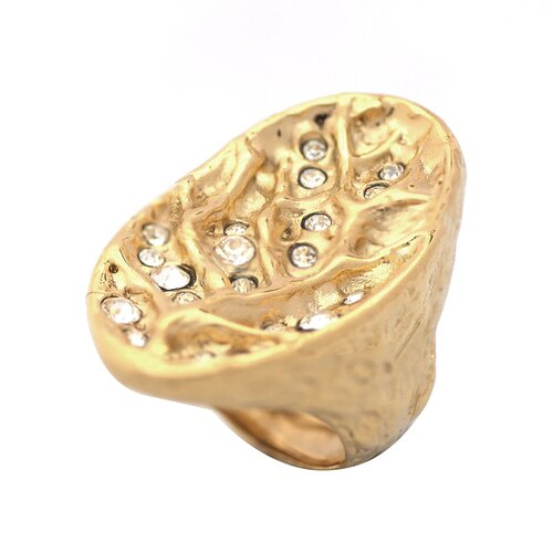 DeBuman 14k Goldplated Round Cut Crystal Multi-Stone Ring