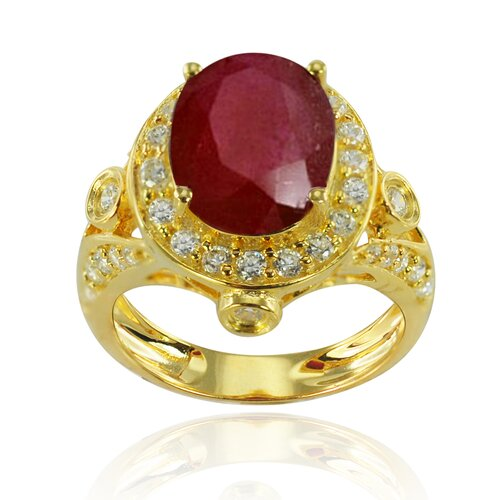 Goldplated Silver Oval Cut Ruby Halo Ring