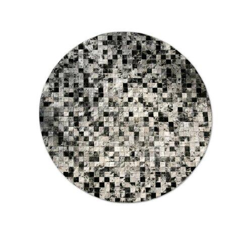 Patchwork Cowhide Moderna Grey Freckles Rug