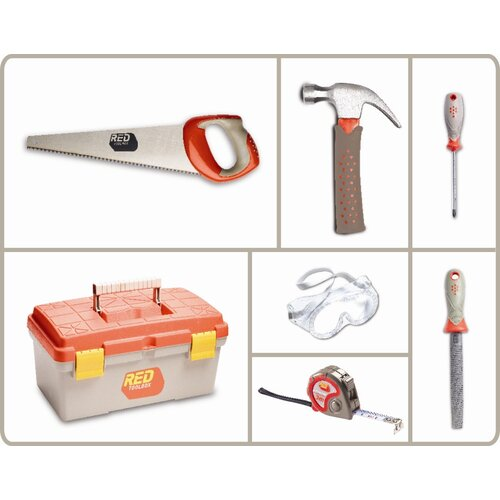 Red Tool Box 6 Piece Tool Set with Tool Box