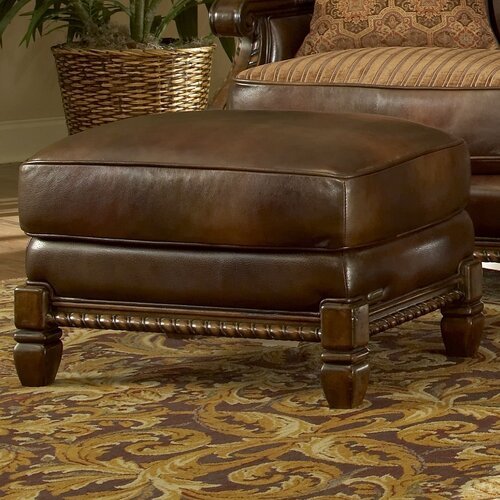 Michael Amini Windsor Court Leather Ottoman