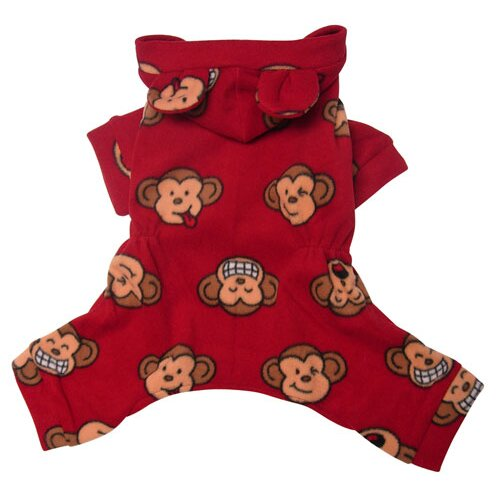 Adorable Silly Monkey Fleece Dog Pajamas / Bodysuit with Hood