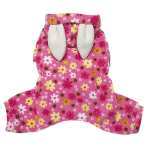 Adorable Floral Bunny Fleece Dog Pajamas / Bodysuit with Hood