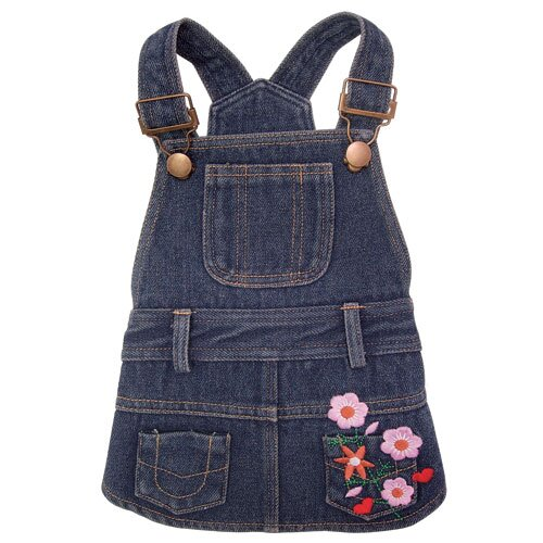 Klippo Pet Cute Denim Dog Dress with Embroidered Flowers and Pockets