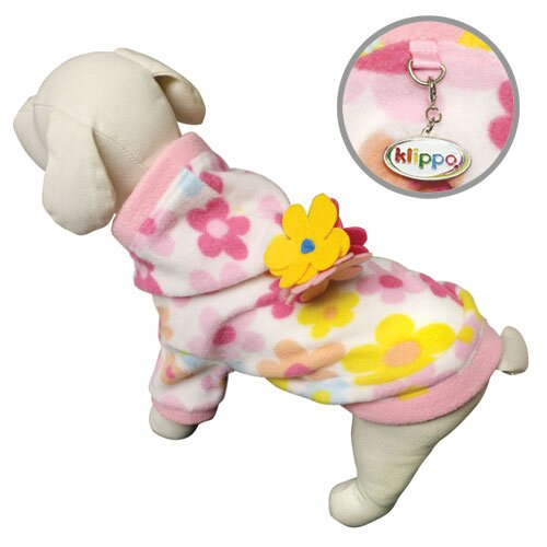 Klippo Pet Cute Floral Fleece Dog Hoodie with Coloful Flowers