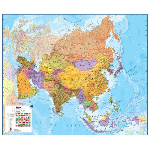 Lovell Johns Asia 1:11 Laminated Wall Map