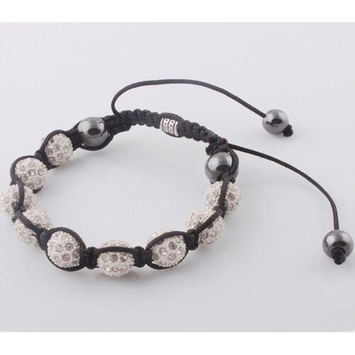 Adjustable Micro Pave CZ Disco Crystal Shamballa Bracelet