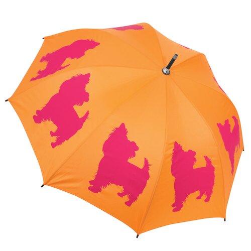 The San Francisco Umbrella Company Dog Park Yorkshire Terrier French Bulldog Walking Silhouette Stick Umbrella