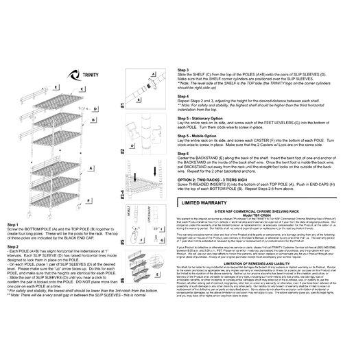"""Trinity NSF 77"""" H 6 Shelf Shelving Unit Starter"""