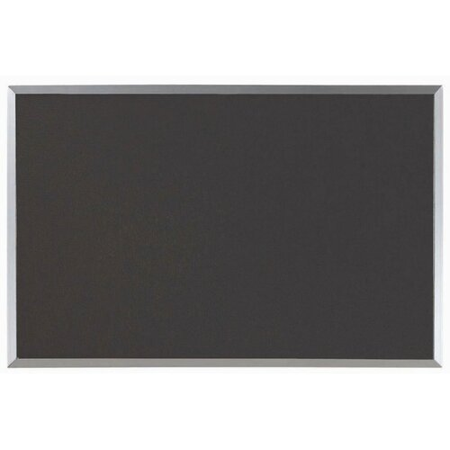 AARCO Designer Black Fabric Bulletin Board with Aluminum Frame