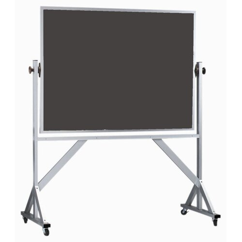 AARCO Reversible Free Standing Chalk Board with Clear Satin Anodized Aluminum Frame in Green/Slate
