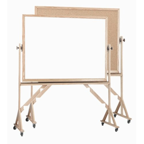AARCO Reversible Free Standing Whiteboard and Bulletin Board