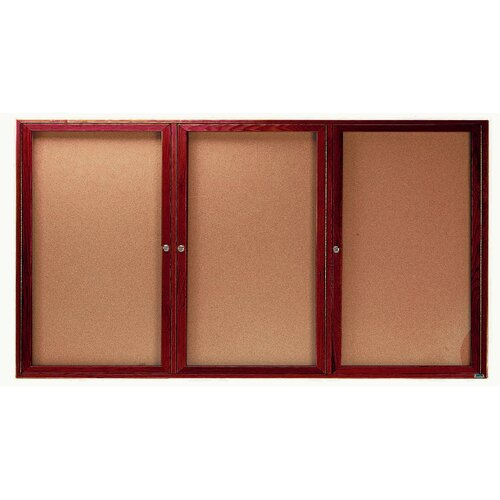 AARCO Enclosed Bulletin Board with Red Oak Frame