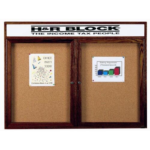 AARCO Enclosed Bulletin Board with Natural Pebble Grain Cork Back Panel