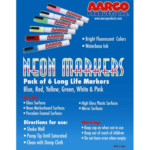 AARCO Neon Dry Erase Makers