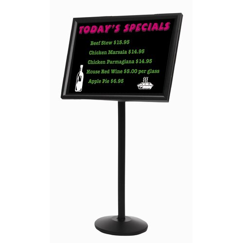 AARCO Dual Capability Neon Marker board and Menu or Poster Holder