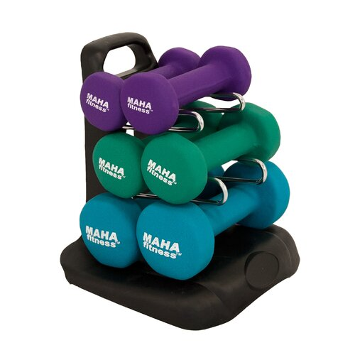 Maha Fitness 7 Piece Dumbbell Set with Stand