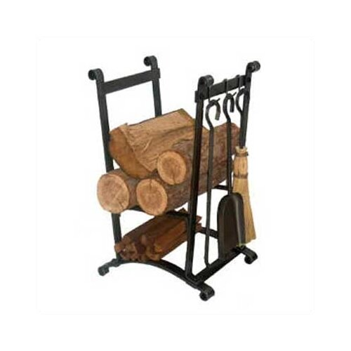 Enclume Compact Curved 3 Piece Fireplace Steel Tool Set with Log Rack