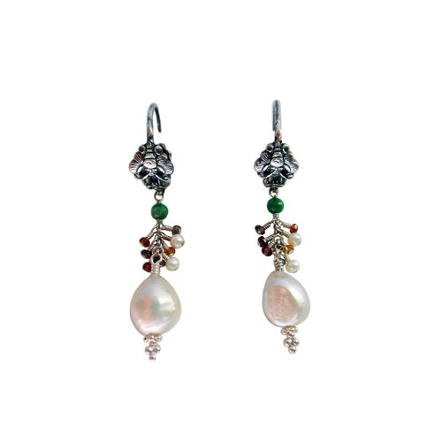 Gemstone Chinese Dancing Butterfly Drop Earrings