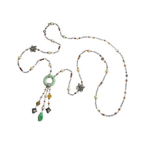 Vivian Yang Sterling Silver Gemstone Chinese Graceful Charm Necklace