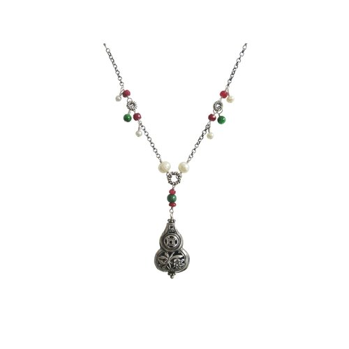 Sterling Silver Gemstone Chinese Blessing Charm Necklace