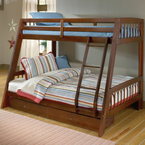 Hillsdale Furniture Rockdale Twin over Full Bunk Bed with Built-In Ladder and Storage