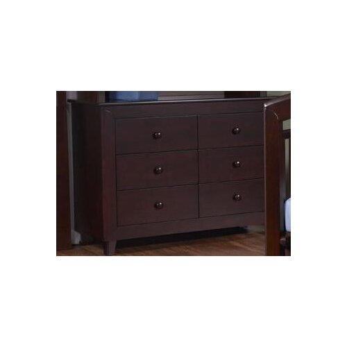 PALI Gala Double 6-Drawer Dresser in Mocacchino