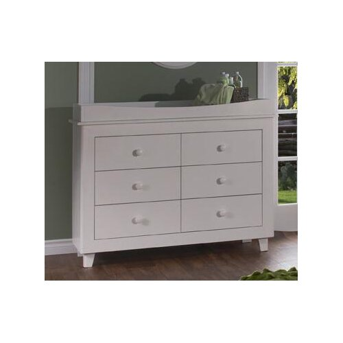 PALI Gala Double 6-Drawer Dresser in White
