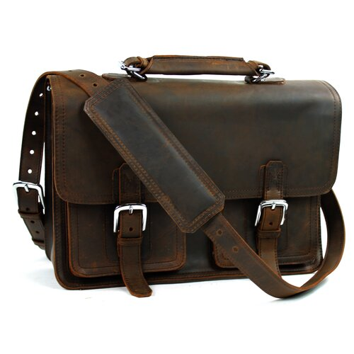 Extra Large Pro Leather Laptop Briefcase