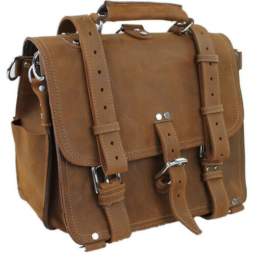 Heavy Duty Medium Full Leather Briefcase and Backpack