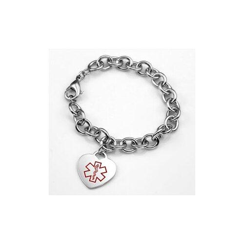 Medical Alert ID Heart Charm Bracelet