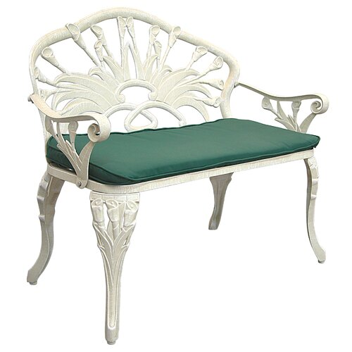 Innova Hearth and Home Calla Lily Cast Iron/Aluminum Garden Bench with Cushion